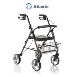 Rollator pieghevole in alluminio verniciato con seduta imbottita - 4 ruote